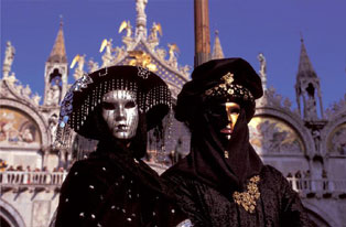 Basilica of St. Marks in background, Venice during Carnival,